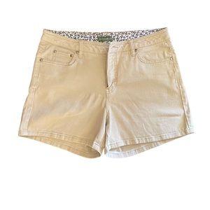 Mountain Lake Khaki High Rise Bermuda Shorts